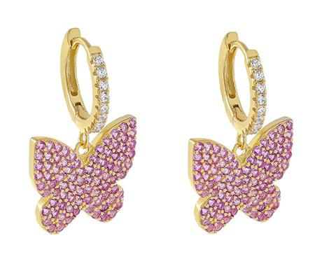 Adina's Jewels x BCRF Shop Pink Butterfly Huggie Earrings