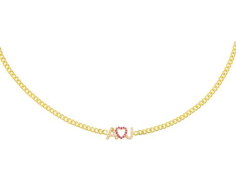 Adina's Jewels x BCRF Shop Pink Pave Heart Nameplate Necklace