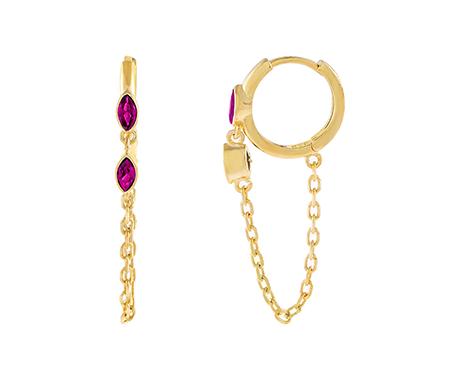 Adina's Jewels x BCRF Shop Pink Evil Eye Chain Huggie Earring