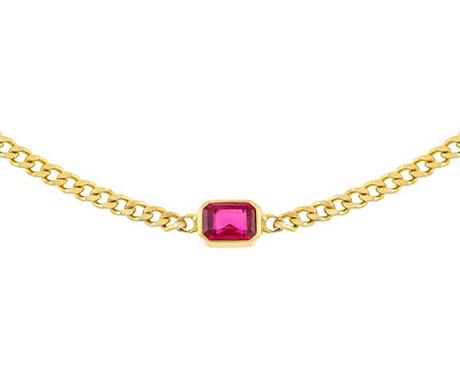 Adina's Jewels x BCRF Shop Pink Baguette Cuban Choker Necklace