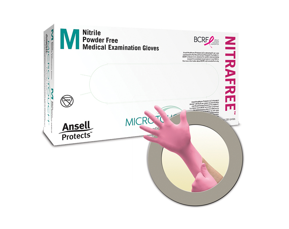 Ansell Microflex x BCRF Shop Pink Microtouch gloves