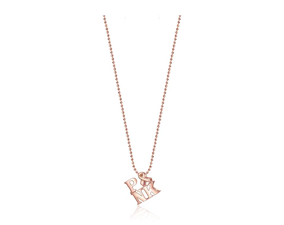 Alex Woo x BCRF Shop Pink 14k Rose Gold Little Activist PINK Necklace