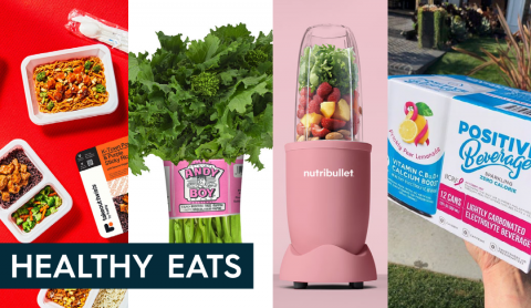 four images in a row of Freshly meals, a bunch of Andy Boy broccoli rabe, a soft pink nutribullet, and positive beverage