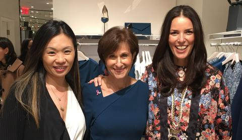 The late Alex Woo stands with BCRF CEO and President Myra Biblowit and Ann Caruso