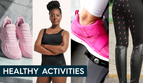 a collage of bcrf partners including APL sneakers, Land's End mastectomy bathing suit, TIEM cycling shoes, and SmartPac breeches